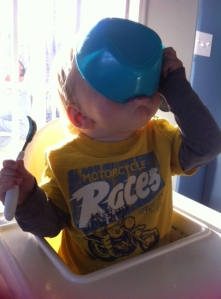 He prefers to drink his ice cream dregs from a bowl.